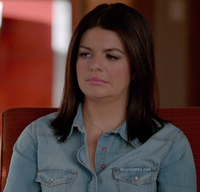 Penny's chambray/denim shirt on Happy Endings
