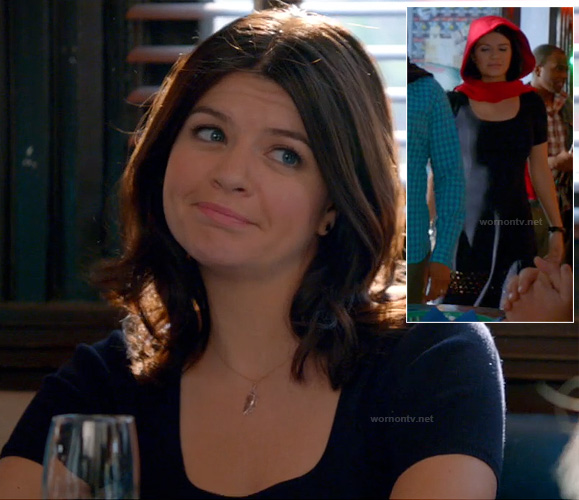 Penny's navy eyelet dress and feather necklace on Happy Endings