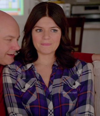 Penny's purple plaid top on Happy Endings