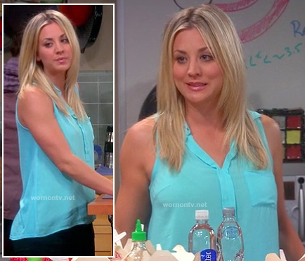 Penny's sky blue sleeveless shirt on The Big Bang Theory