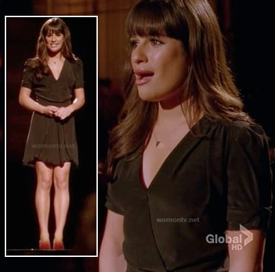 Rachel's black v-neck short sleeved dress on Glee