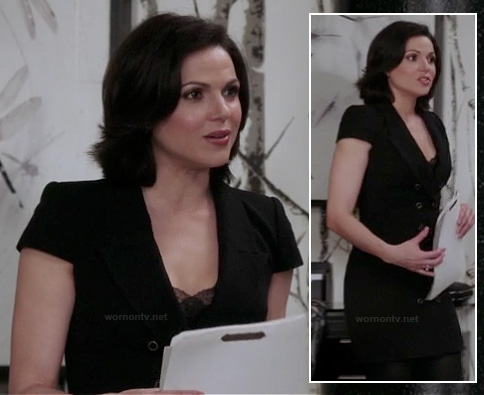Regina's black short sleeved blazer dress on OUAT