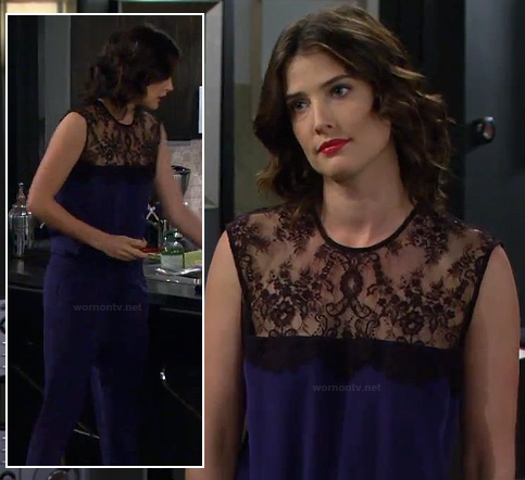 Robin's blue and black lace jumpsuit on How I Met Your Mother