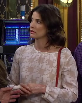 Robin's white and nude pixel print top on HIMYM