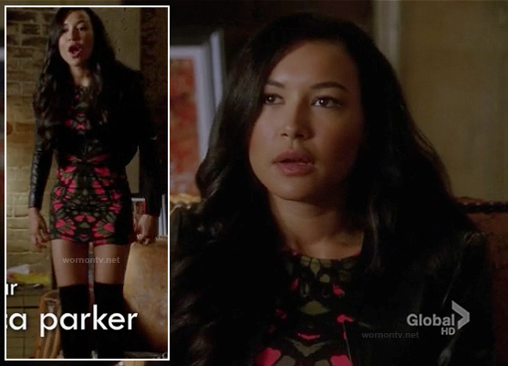 Santana's black and pink mirror print bodycon dress on Glee