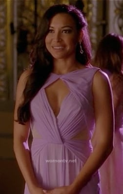 Santana's purple cutout gown on Glee