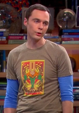 Sheldon's brown Aquaman shirt on The Big Bang Theory