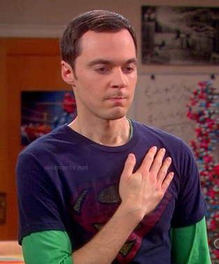 Sheldon's navy Superman shirt on The Big Bang Theory