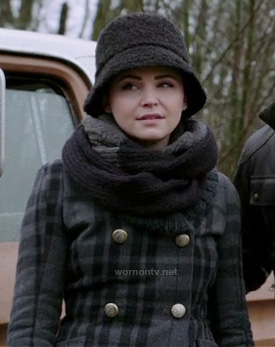 Mary's grey check print coat, black bucket hat and grey scarf on Once Upon a Time
