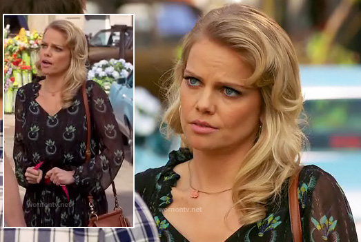 Tansy's black dress with feather print on Hart of Dixie