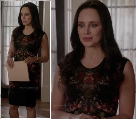 Victoria's black and red printed dress on Revenge