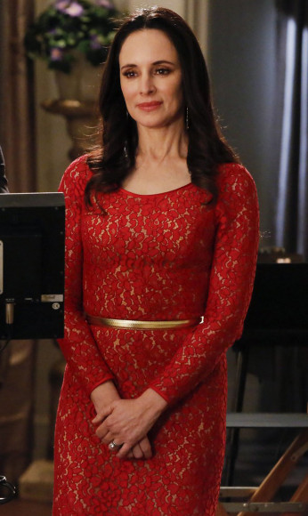 Victoria's red lace long sleeve dress on Revenge