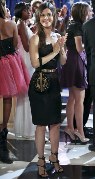 Zoe's black strapless dress and spiked heels on Hart of Dixie