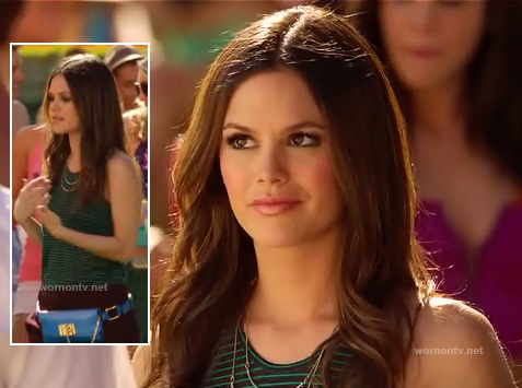 Zoe Hart's green striped racer back top and blue fanny pack on Hart of Dixie