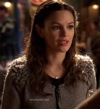 Zoe's grey cardigan with fluffy shoulders on Hart of Dixie