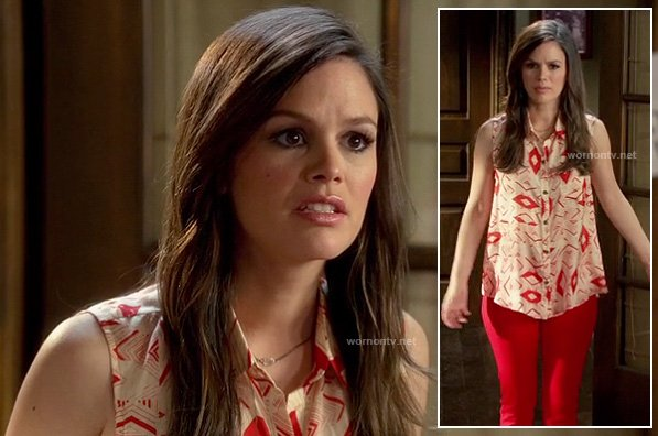 Zoe's red printed shirt with red pants on Hart of Dixie