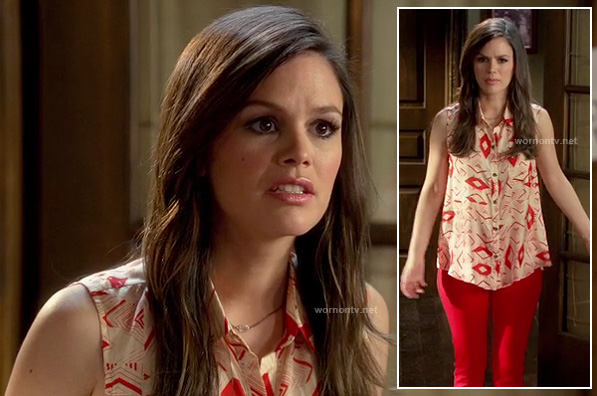 Zoe's red and white printed shirt on Hart of Dixie