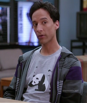 Abed's grey panda tee with helicopters on Community