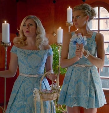 Alex and Jane's blue jacquard bridesmaid dresses on Happy Endings