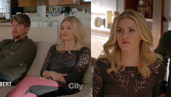 Alex's black laser cut out top and red/black jeans on Happy Endings