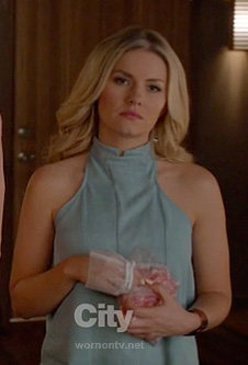 Alex's light blue halter top on Happy Endings