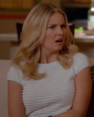 Alex's white sequin tee on Happy Endings