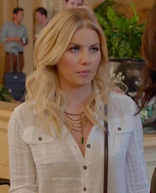 Alex's sheer white button front blouse on Happy Endings