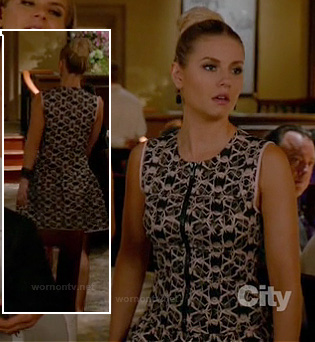 Alex's black lace dress with zip front on Happy Endings