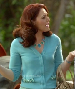 Annabeth's pastel blue cardigan with beaded pockets on Hart of Dixie
