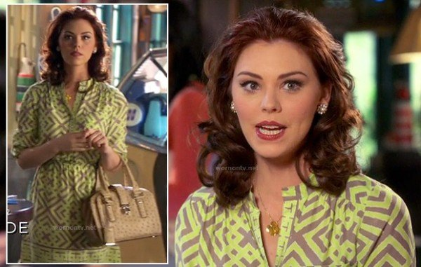 AnnaBeth's neon green geometric print dress on Hart of Dixie