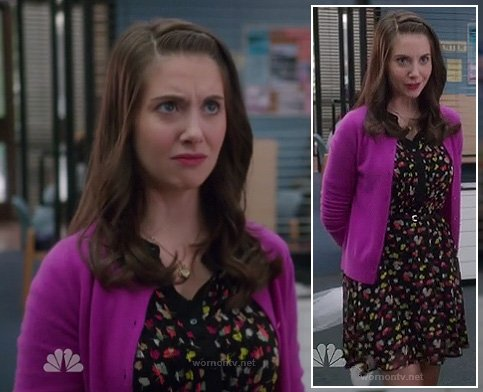 Annie's black floral button front dress on Community