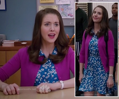 Annie's blue daisy print dress and magenta cardigan on Community