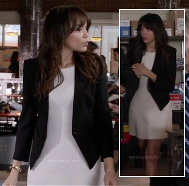 Ashley's white dress and black blazer with high back on Revenge