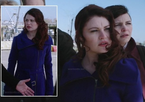 Belle's blue asymmetric coat on Once Upon a Time