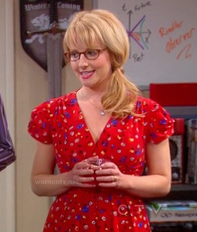 Bernadette's red v-neck dress on The Big Bang Theory