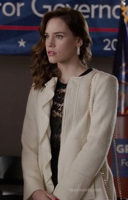 Charlotte's white coat with ruffles on Revenge