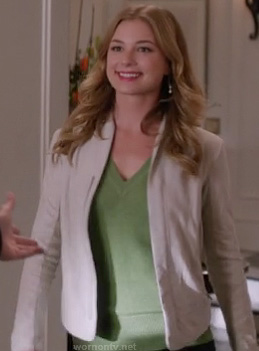 Emily's beige jacket and green v-neck sweater on Revenge