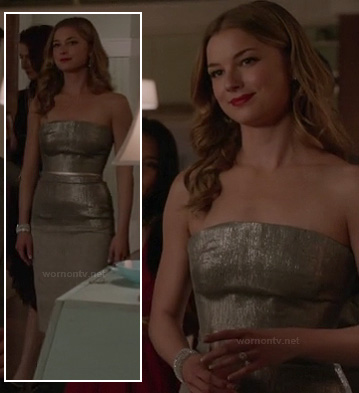 Emily's strapless metallic engagement party dress on Revenge