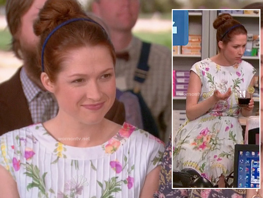 Erin's white pleated dress at Dwight and Angelas wedding on The Office