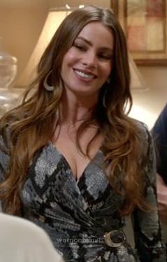 Gloria's grey snakeskin dress on Modern Family