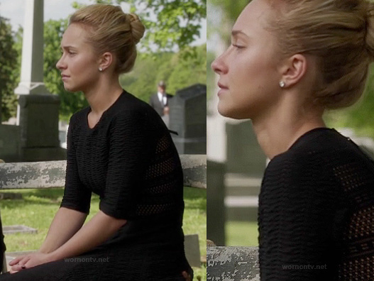 Juliette's black mesh panel dress at the funeral on Nashville