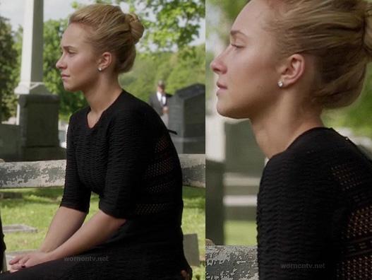 Juliette's black mesh panel dress at the funeral on Nashville