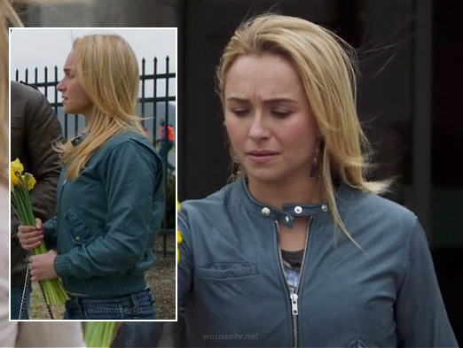 Juliette's blue leather bomber jacket on Nashville