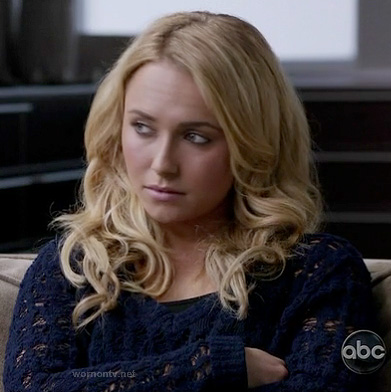 Juliette's blue open knit sweater on Nashville