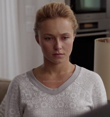 Hayden's grey sweater with cog gears on Nashville