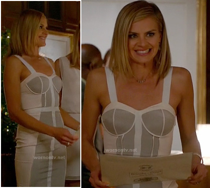 Jane's grey and white colorblock bustier dress on Happy Endings