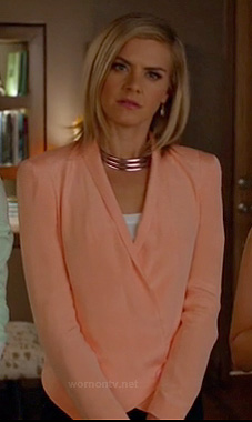 Jane's peach jacket on Happy Endings