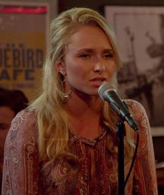 Juliette's pink paisley blouse on Nashville