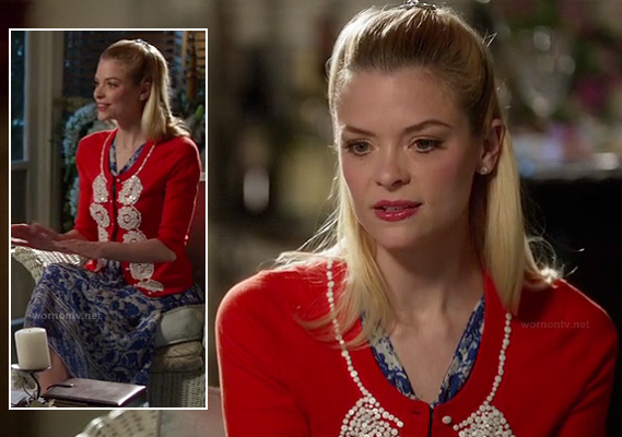 Lemon's red and white sequinned cardigan and blue patterned dress on Hart of Dixie