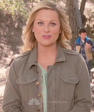 Leslie's army green jacket on Parks and Rec